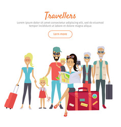 Travelers of different age with suitcases banner vector