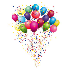 color glossy balloons colored confetti with vector image