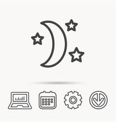 Night or sleep icon moon and stars sign vector