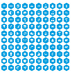 100 nature icons set blue vector