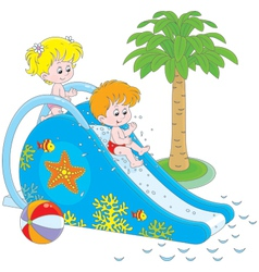 Children on a waterslide vector