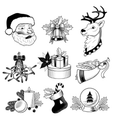 Christmas icons black and white set vector