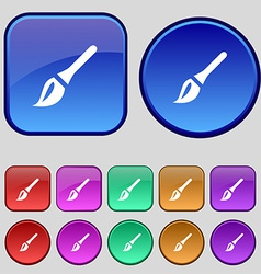 Paint brush artist icon sign a set of twelve vector