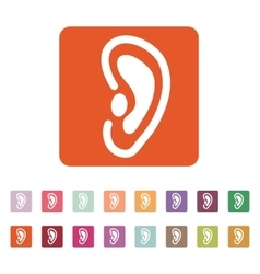 The ear icon listen symbol flat vector