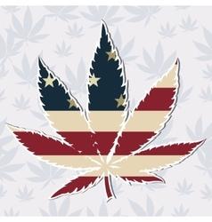 Marijuana leaf with the USA flag colors vector image