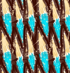 Rough brush brown grid with blue vector