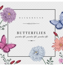 Card with two butterflies and flowers vector