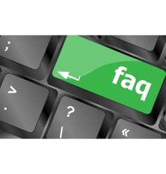 Computer keyboard key with key faq closeup vector