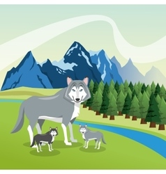 Landscape with animals design mountain icon vector