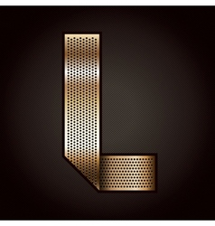 Letter metal gold ribbon - l vector