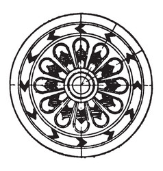 Assyrian ornament is a rosette motive vintage vector