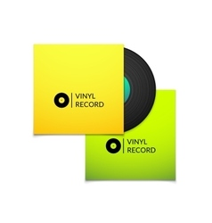 Black vintage vinyl record with blank yellow and vector