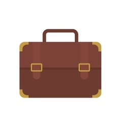 Brown portfolio suitcase travel business vector