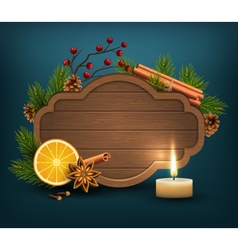Christmas background with wooden frame spices and vector
