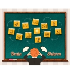 Concept Brainstorm Man and Blackboard vector image