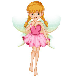 Cute fairy in pink costume vector