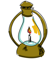 Drawn oil lamp vector