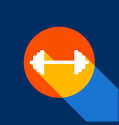 Dumbbell weights sign white icon on vector