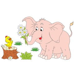 Elephant calf and chick vector
