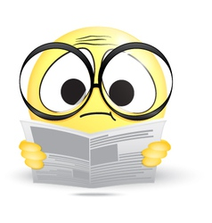 Emoticon confused reading a newspaper vector