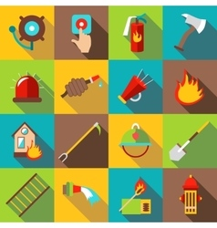 Fire fighting icons set flat style vector