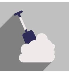 Flat icon with long shadow snowdrift shovel vector
