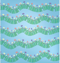 Grass and flower funny pattern background vector image vector image