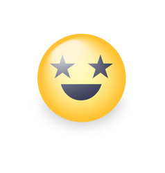 happy laughing emoji face with eyes in the form of vector image