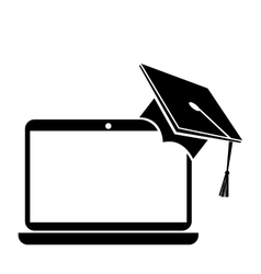 Hat graduation with laptop isolated icon vector