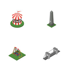 Isometric street set of highway seesaw dc vector