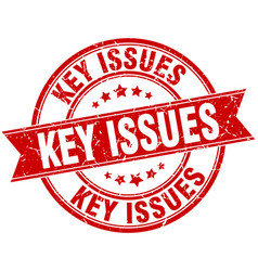 Key issues round grunge ribbon stamp vector