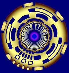 Mechanical gold button vector