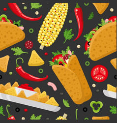 mexican food color seamless pattern vector image vector image