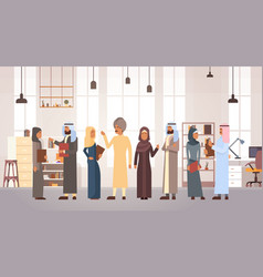 Muslim people business man and woman team in vector