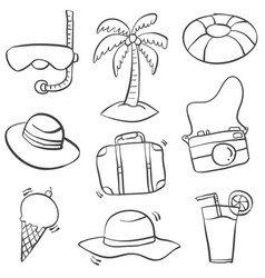 object summer holiday doodle style vector image
