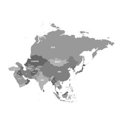 political map of asia continent in shades of grey vector image