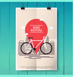 poster with city bike hire rental tours for vector image vector image