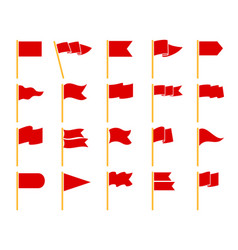 Red flags on yellow staves icons vector