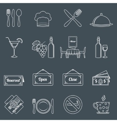 Restaurant icons set outline vector image vector image