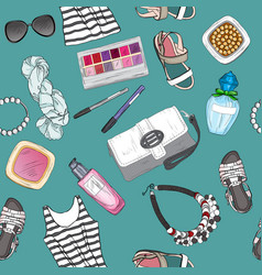 Seamless pattern with female fashion accessories vector