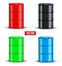 Set of metal oil barrels on white background vector