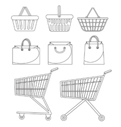 Shopping bag basket trolley cart Icon set vector image vector image