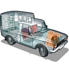van info graphics cutaway vector image vector image