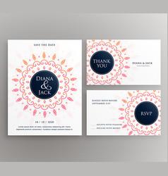 Wedding invitation rsvp and thankyou card design vector