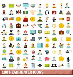 100 headhunter icons set flat style vector