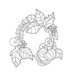 Floral frame with leaves vector