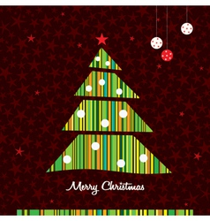 striped christmas tree background vector image