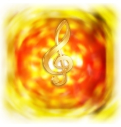 Treble clef with bright blurred background vector