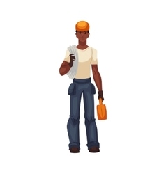 Full length young and handsome african worker with vector