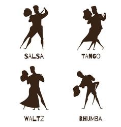 Dancing couples black retro cartoon icons vector